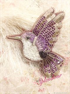 Купить Колибри Лилу - комбинированный, Броши ручной работы, брошь лиловая, брошь колибри