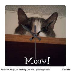 Adorable Kitty Cat Peeking Out Wall Clock