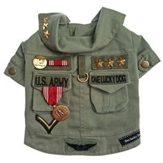 146.95 w/FREE SHIPPING - Salute your #dog in this amazing, #vintage, #military #jacket. Made from a 100% cotton, heavyweight fabric, this jacket features genuine #army #medals, #ribbons, #pins and #patches.  Sizes XS-XL.  Available at Sugar Chic Couture:  https://www.sugarchiccouture.com/ProductDetail. #FourthofJuly #LaborDay #USA #chevron #war