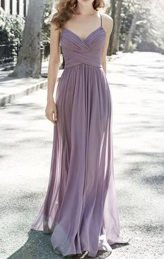 518b6e8b492 MACloth Spaghetti Straps V Neck Long Bridesmaid Dress Vintage Dusty Lavender  Wedding Party Formal Gown Bridesmaid