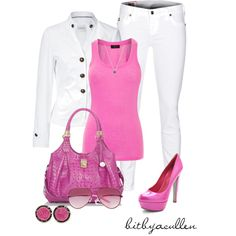 """""""Candy Pink"""" by bitbyacullen on Polyvore Without the crazy shoes that I would kill myself in"""