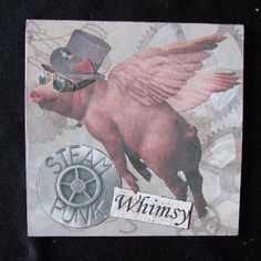 Steampunk Whimsy Flying Pig 4 X 4 by TheDaysEndStudio on Etsy
