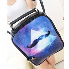 Cartoon Triangle Galaxy Beard Print Backpack & Handbag for only $19.90 ,cheap Fashion Handbags - Fashion Bags online shopping,Cartoon Triangle Galaxy Beard Print Backpack is a punk and cute backpack. The galaxy mix with the triangle and beard which can show the unique feeling