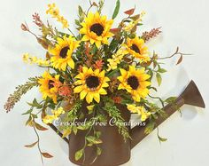 Watering Can Wreath, Sunflower Watering Can, Fall Wreath, Sunflower Door Decor, Sunflower Arrangement, Fall Floral, Fall Door Decor