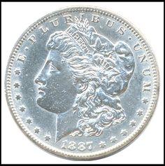 #coins 1887 S UNITED STATES MORGAN $1 AMERICAN SILVER DOLLAR COIN / CHOICE A.U. COIN please retweet