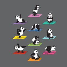 The Panda Yoga T-Shirt by Kater Likoli, Mannheim, Germany Panda Kawaii, Niedlicher Panda, Panda Love, Cute Panda, Red Panda, Baby Animals, Funny Animals, Cute Animals, Baby Pandas