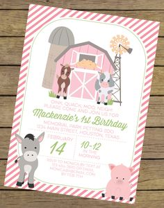 Pink Farm Birthday Invitation for a Girl | Farm Party Printable Invite | Petting Zoo Invitation | Farm Theme Party | Printable Invitation by CharlesAlexDesign on Etsy
