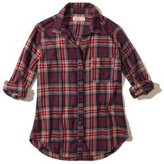Hollister Button-Front Flannel Shirt ($20) ❤ liked on Polyvore featuring tops, purple plaid, flannel top, tartan top, classic fit shirt, pocket shirts and purple top