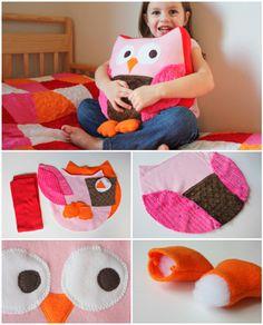 DIY Owl Pillow Cushion Sew Pattern Free Tutorial #Sew, #Toy, #HomeDecor