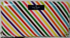 $90.00 Kate Spade Live Colorfully Candy Stripe Daycation Zip Around Clutch + FREE GIFT