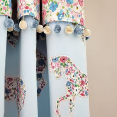 Pretty Ponies Fabric from Sanderson Abracazoo Collection. A charming applique curtain fabric featuring silhouettes of prancing ponies inlaid with the sky blue and pink Posy Floral fabric, stitched onto a powder blue ground. Sanderson Fabric, Curtain Patterns, Curtain Designs, Floral Fabric, Floral Prints, Floral Tie, Floral Design, Childrens Curtains, Windows
