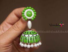 GREEN & PEARL WHITE Jumka Handmade terracotta clay by Varnakala