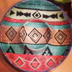 Aztec pattern on a chip and dip platter hand painted by MasterPlanAN