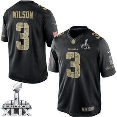 4846e89039672 Nike Seattle Seahawks Jersey 3 Russell Wilson Black Salute to Service  Limited Jerseys