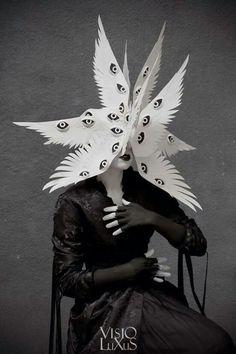 angel wings with eyes headdress