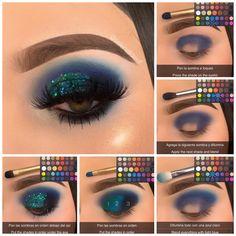 Eye Makeup Steps, Makeup Eye Looks, Beautiful Eye Makeup, Eye Makeup Art, Crazy Makeup, Skin Makeup, Bright Eye Makeup, Colorful Eye Makeup, Eye Makeup Designs