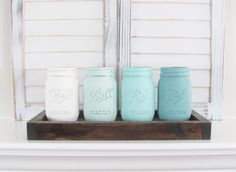 Ombre Rustic Decor Painted Jars Mason Jars Table by FabbDecor Free Pallets, Wood Pallets, Painted Jars, Love Is Free, Table Toppers, Rustic Decor, Baby Shower Gifts, Mason Jars, Room Crafts