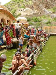 Bathing at the Monkey Temple, Jaipur , India