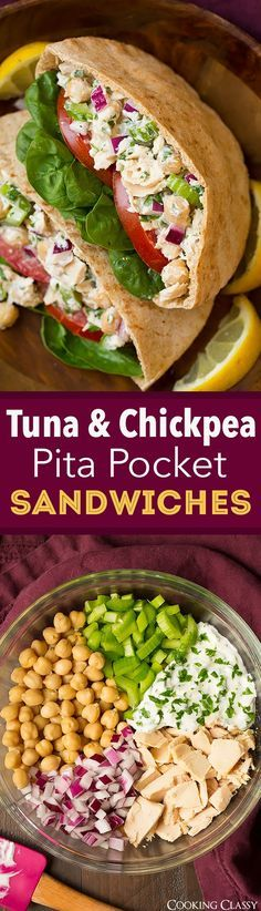 Tuna and Chickpea Pita Pocket Sandwiches - Made this recipe 3 days in a row! New go-to healthy lunch! Flavorful, filling and delicious!