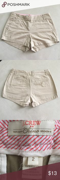 J. Crew Women's Chino Shorts Broken in chinos! In used but good condition! J. Crew Shorts
