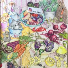 Original pinner - Finally finished the right side of this amazing book. Food Art Painting, Doodles, Colouring Techniques, Polychromos, Coloured Pencils, Color Pencil Art, Coloring Book Pages, Colorful Drawings, Color Inspiration