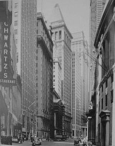 "ABBOTT Berenice, Changing New York, The Complete WPA Project ""  Broad Street, looking toward Wall Street"","