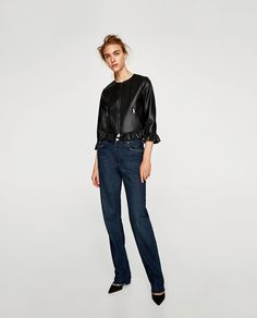 ZARA - WOMAN - LEATHER EFFECT FRILLED JACKET