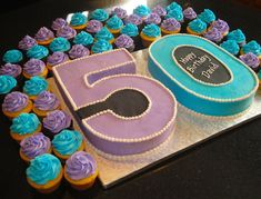 50th Birthday Cake and Cupcakes