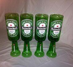 Heineken Beer Bottle Wine Glasses. Recycled Glass Bottles. Green Wine Glasses. by RandomCraftsBySundee, $30.00 USD