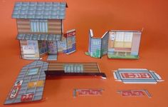 Nostalgic Tobacco Shop Paper Model - by Retro Machine Club - == -  Take a walk into the past with this Nostalgic Japanese Tobacco Shop, from Retro Machine Club website. You will need two sheets of paper to build this.