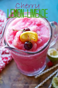 Cherry Lemon-Limeade: This slushy drink is full of antioxidants and tastes amazing! - Eazy Peazy Mealz