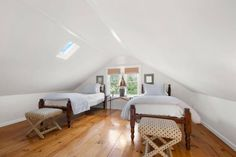 Looking for attic room conversion ideas? Lucky you, we have compiled these 35 clever ideas to make your attic room to look more inviting! Attic Bedroom Designs, Attic Bedrooms, Bedroom Images, Bedroom Ideas, Master Bedroom, Bedroom Decor, Attic Renovation, Attic Remodel, Layout Design