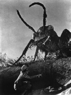 Them! (1954) While investigating the Ellinson campsite, Dr Pat Medford is confronted and startled by a giant, eight-foot long scouting ant.  http://scififilmfiesta.blogspot.com.au/2014/03/them-1954.html