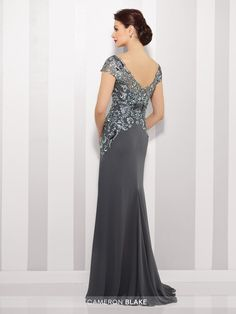 216691 - Chiffon slim A-line gown with lace illusion cap sleeve and bateau neckline over a sweetheart bodice, dropped waist, V-back, sweep train. Matching shawl included.