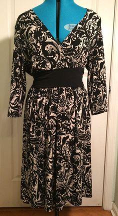 $15.00 + Free Shipping Tiana B. Black & White Wrap Dress Size XL #Tianab #WrapDress #WeartoWork