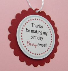 handmade STRAWBERRY birthday favor tags. $6.95, via Etsy.