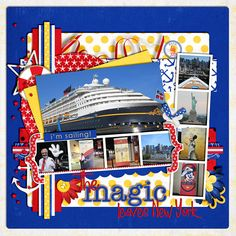 Cruise Scrapbook Pages, Vacation Scrapbook, Kids Scrapbook, Scrapbooking Layouts, Disney Cruise Line, Disney Parks, Carnival Cruise Magic, Mum Birthday, Disney Ideas