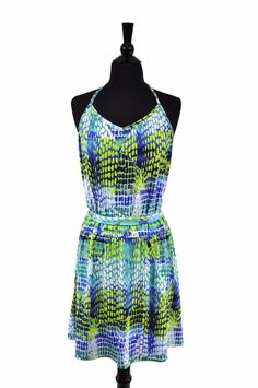 Michael by Michael Kors Blue Green Stretch Womens Halter Summer Dress Size Large #MichaelKors #BeachDressStretchBodycon #Casual
