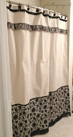Curtains Ideas cloth shower curtain : How To Stencil A Drop Cloth Shower Curtain | Cottages, The o'jays ...