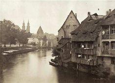 Alte Wohnhäuser an der Pegnitz, Nürnberg um 1857.