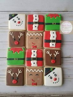 Items similar to Christmas Sugar Cookies Square Collection cookies) on Etsy Christmas Goodies, Christmas Desserts, Christmas Baking, Christmas Treats, Christmas Holidays, Christmas Brownies, Iced Cookies, Royal Icing Cookies, Cookies Et Biscuits