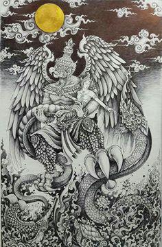Khmer Tattoo, Thai Tattoo, Fantasy Drawings, Fantasy Art, Meat Art, Sak Yant Tattoo, Buddhist Art, Big Bird, Shoulder Tattoo