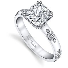 Women's Diamond Ring by Harry Kotlar 1.51ct Kotlar Cushion Floral... ($26,645) ❤ liked on Polyvore featuring jewelry, rings, silver, pave diamond jewelry, diamond jewellery, diamond rings, pave ring and pave diamond ring