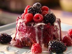 Get Brioche and Berry Bread Pudding with Lemon Fondant Recipe from Food Network Just Desserts, Dessert Recipes, Raspberry Brownies, Molten Lava Cakes, Molten Chocolate, Tasty, Yummy Food, Food Network Recipes, Sweet Tooth