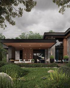 Modern House Facades, Modern Architecture House, Modern House Design, Architecture Design, Home Building Design, Building A House, Facade Design, Exterior Design, Modern Tropical House