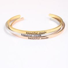 "Silver Gold Rose Gold Stainless Steel Mantra Bracelets Engraved ""beautiful inside"" Inspirational Bangles ID Bracelets 5Pcs/lot"