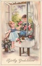 SIGNED ARTIST  Postcard  HANNES PETERSEN  Boy,Girl  Flowers 1945 Congratulations
