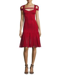 Lexi+Cold-Shoulder+Tulle-Skirt+Bandage+Dress,+Red+by+Herve+Leger+at+Neiman+Marcus.