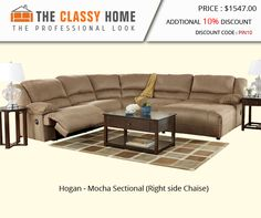 Hogan - Mocha Sectional (Right side Chaise)