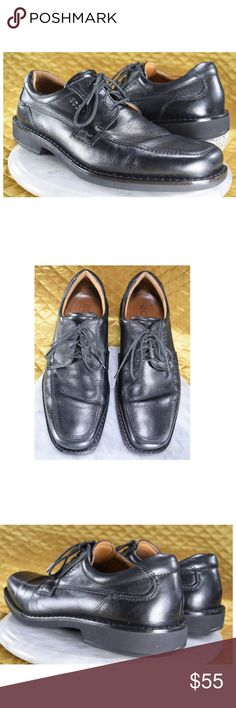 ECCO Men's Black Leather Oxfords Size 43 US 9-9.5 These are men's black leather oxfords by Ecco in excellent condition! They are very like new!  Just some wear on the removable insoles. Check it out in the photos! Very high quality, COMFORTABLE shoes. Size EUR 43 = US 9 / 9.5 According To ECCO Size Chart.  **If you appreciate old school quality - you're in the right place. We don't just sell products, we put time & work into them. We ship FAST, usually within 1 business day! Thank you for…